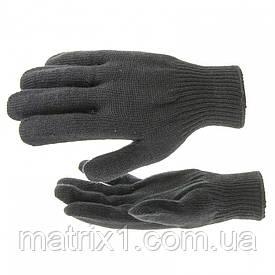 Перчатки трикотажные, акрил, цвет: чёрный, оверлок Сибртех