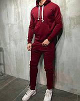 Бордовый мужской спортивный костюм, осенний (Реплика)