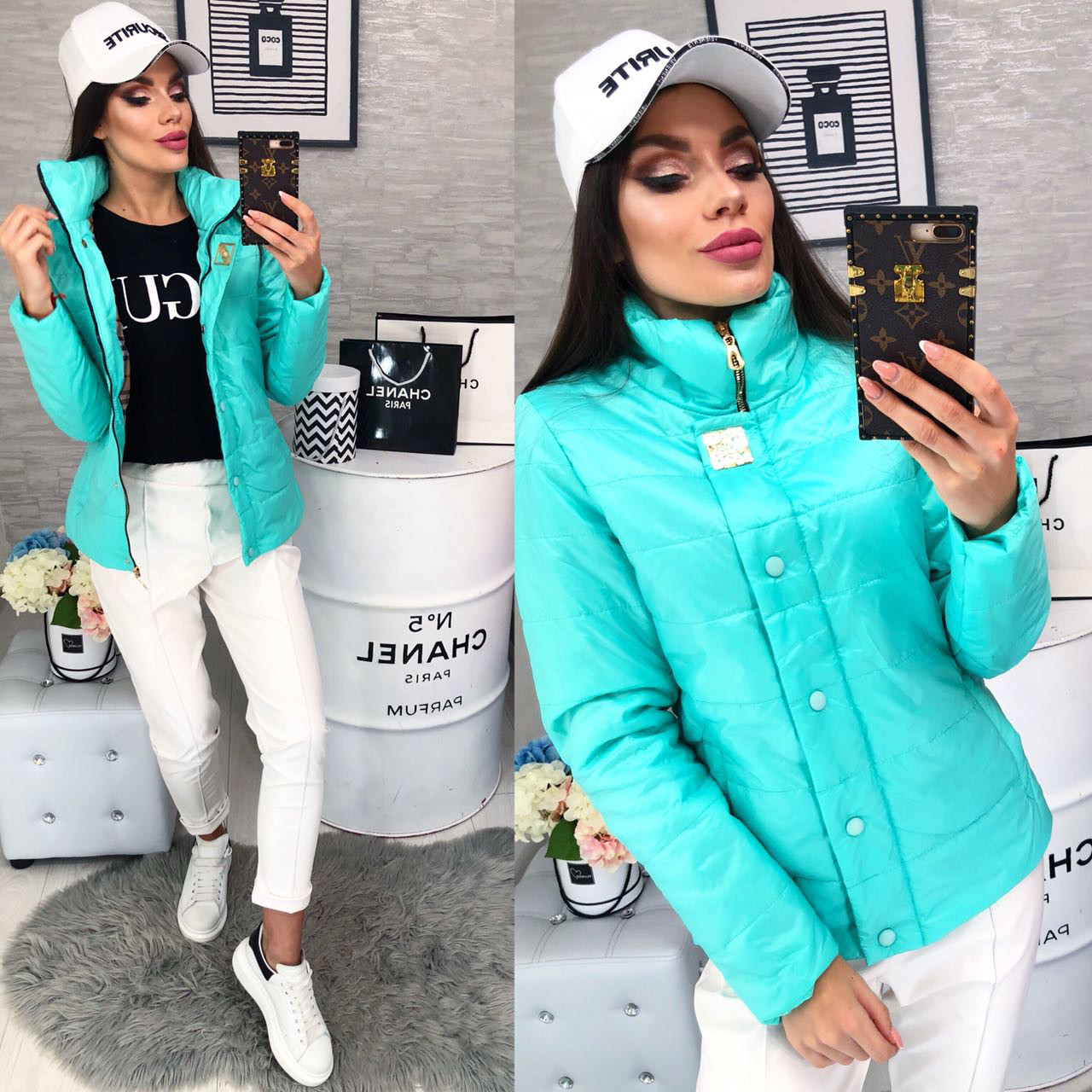 Куртка демисезонная, новинка 2018, модель 211/2, цвет - бирюза