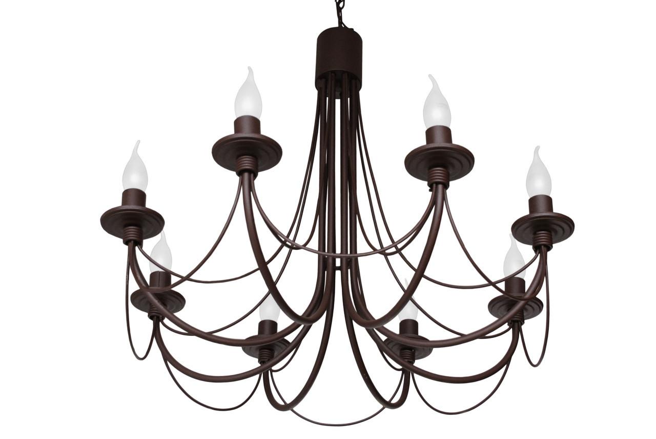 """Люстра кованая  """"Зонтик"""" коричневая на 8 ламп"""