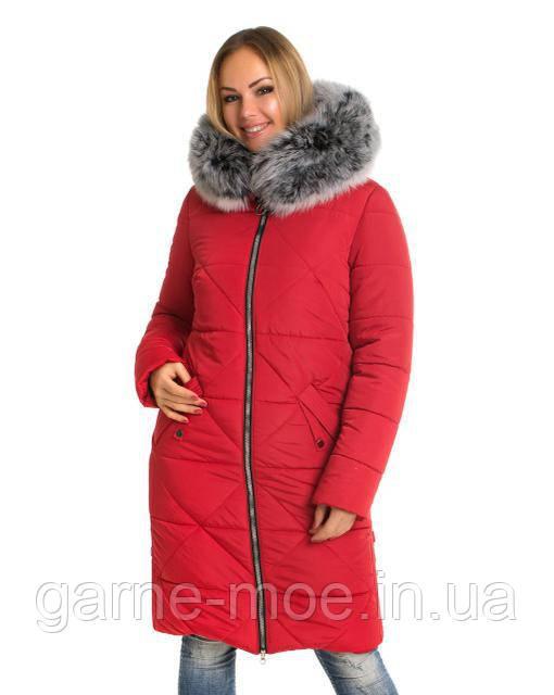 ЛД753 чбк Женское пальто-пуховик с натуральным мехом 42-60 рр