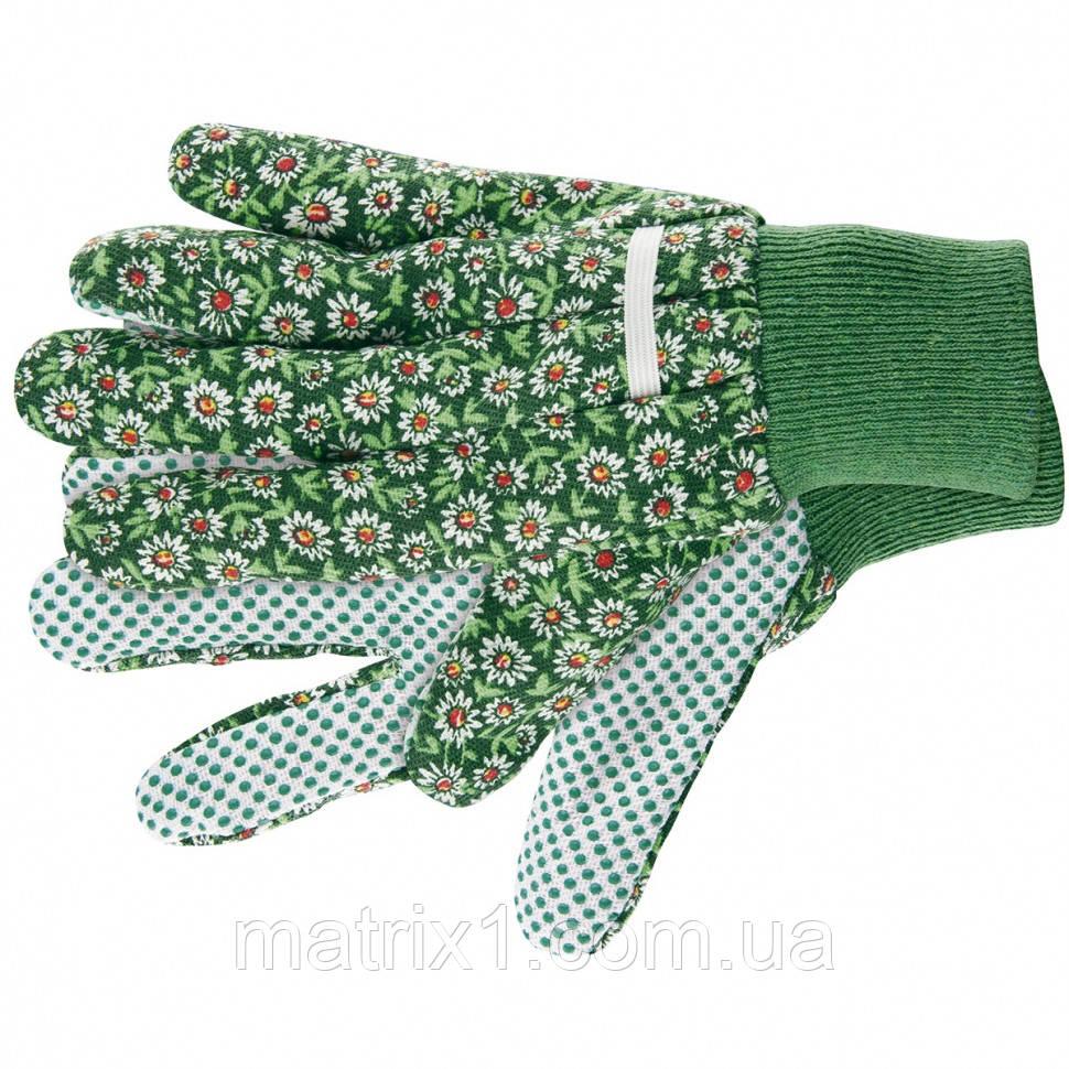 Садові рукавички х/б тканина з ПВХ крапкою, манжет, S PALISAD