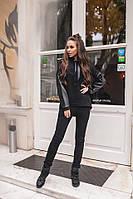 Женский спортивный теплый костюм с эко-кожей материал турецкая трехнитка на флисе цвет черный, фото 1