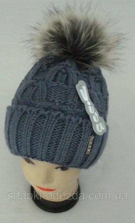 Шапка вязаная для девочки  зимняя на полном флисе