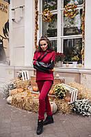Женский спортивный теплый костюм с эко-кожей материал турецкая трехнитка на флисе цвет бордовый, фото 1