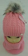 Шапка вязаная + хомут для девочки  акрил на флисе с люрексом, фото 1