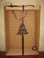 Подарочный пакет ручной работы из декоративной мешковины большой, фото 1
