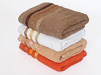 Махровое лицевое полотенце 100х50см (три полоски, золото)