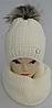 Шапка вязаная + хомут для девочки  на полном флисе зима