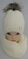 Шапка вязаная + хомут для девочки  на полном флисе зима, фото 1