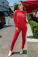 Женский спортивный костюм с камнями материал турецкая двухнитка красный, фото 1