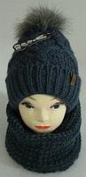 Шапка вязаная + хомут для девочки  зима на полном флисе, фото 1