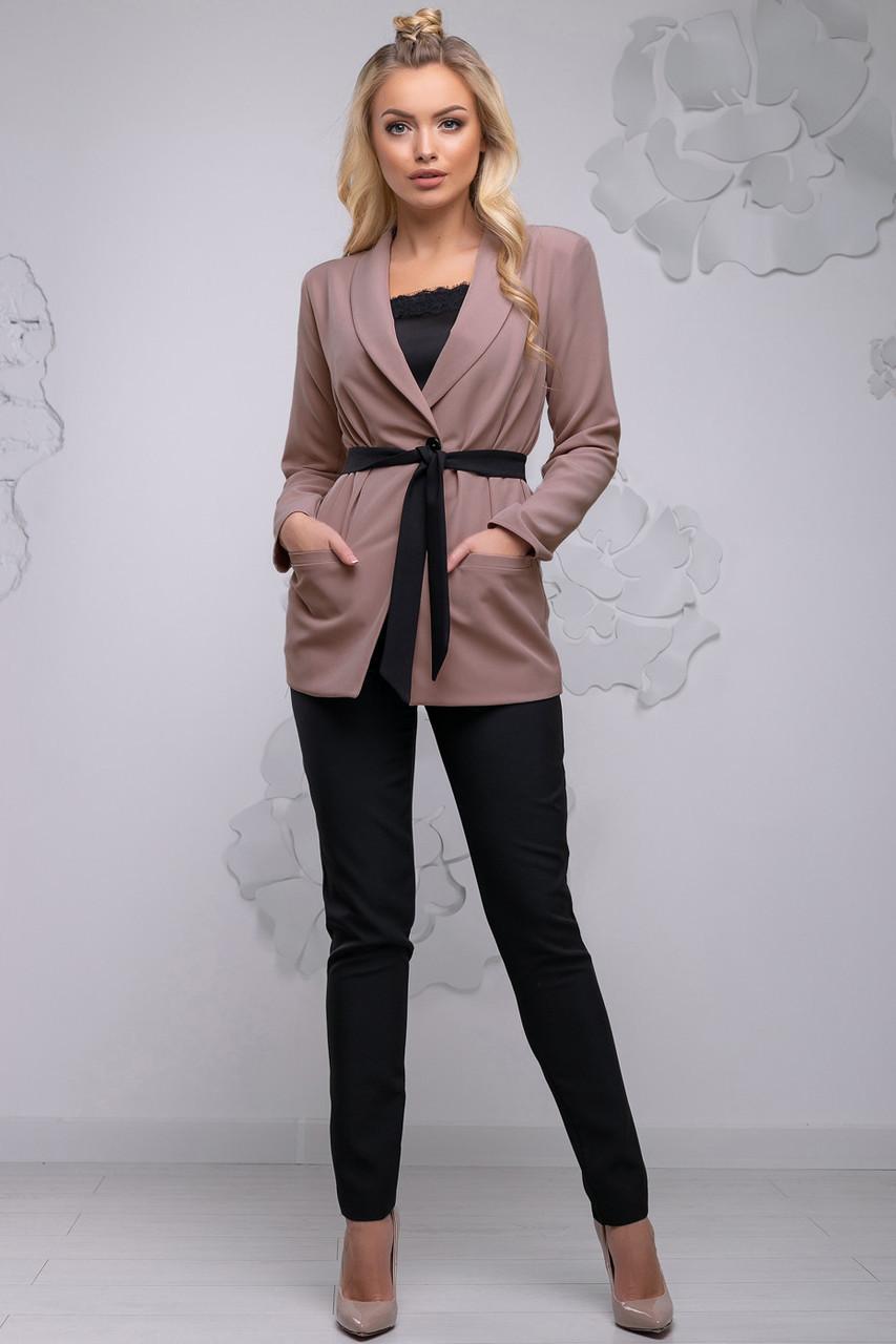 Стильный женский брючный костюм, размеры от 44 до 50, бежевый/чёрный