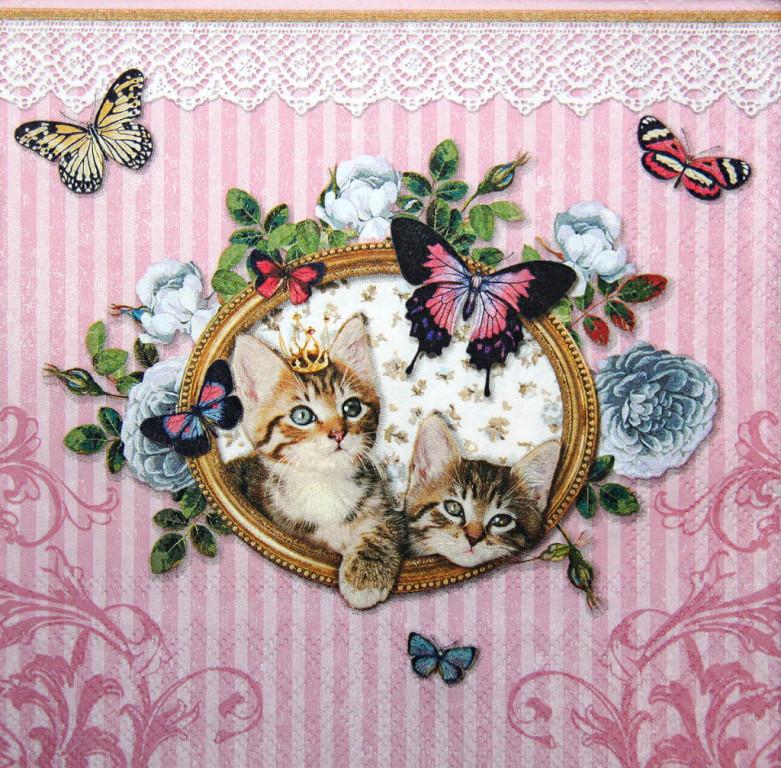 Декупажная салфетка Котята и бабочки 3843