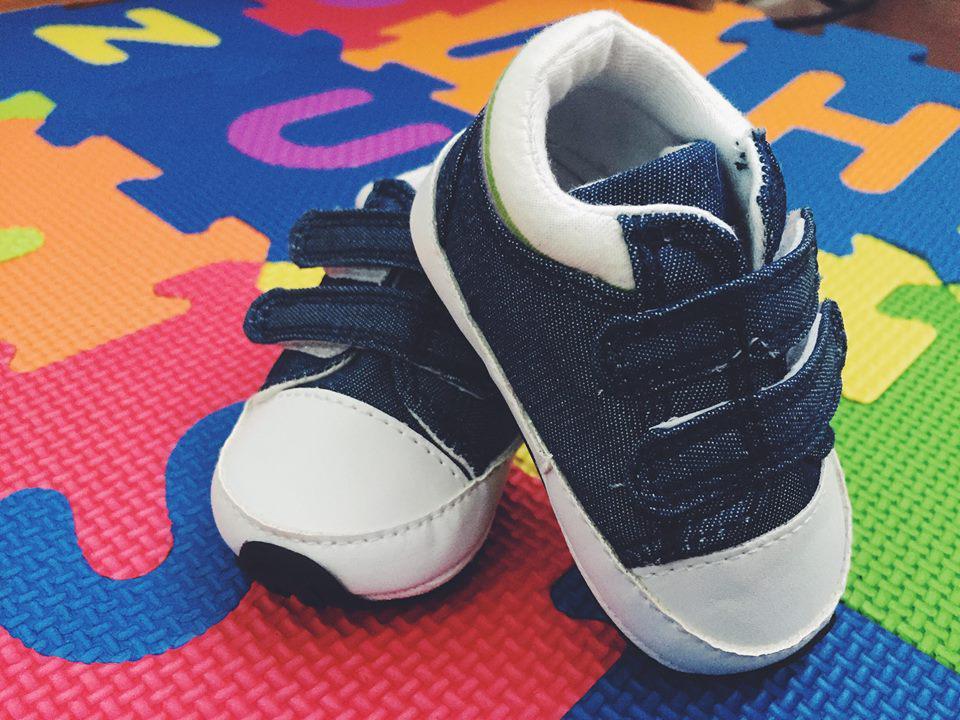 Кроссовки пинетки  детские из текстиля джинсовые 16 размер