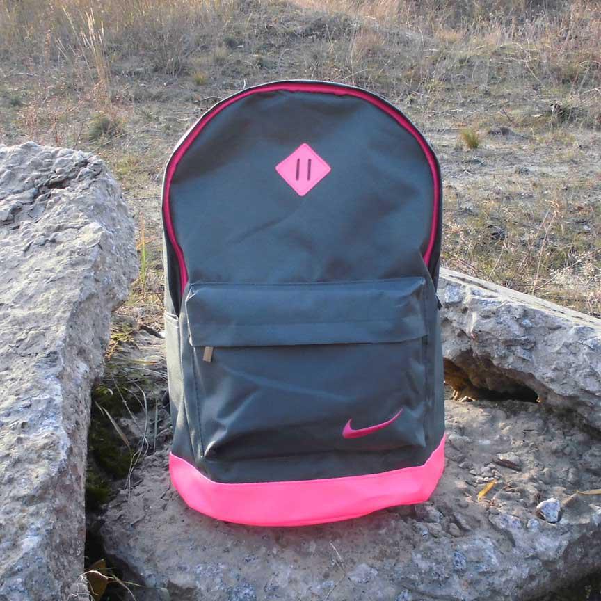 Хит! Стильный рюкзак в стиле NIKE (Найк). Серый с розовым.
