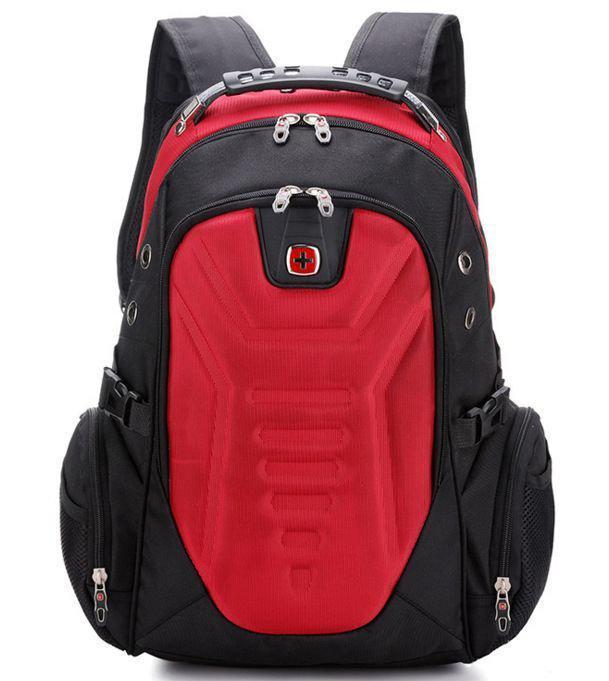 Вместительный рюкзак в стиле SwissGear Wenger, свисгир. Красный с черным. + Дождевик. 35L / s7611 red