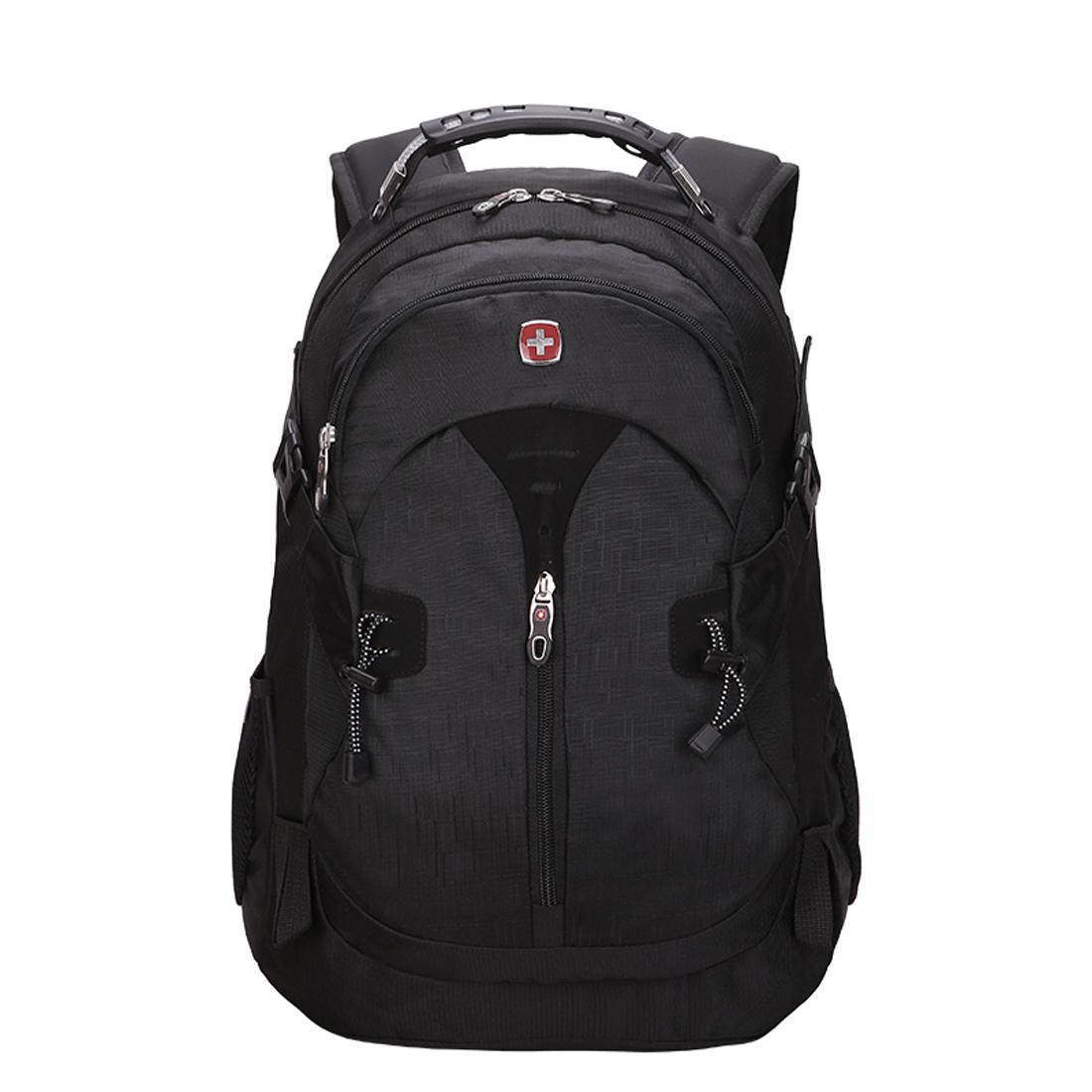 Вместительный рюкзак в стиле SwissGear Wenger, свисгир. Черный. + Дождевик. / s7255 black