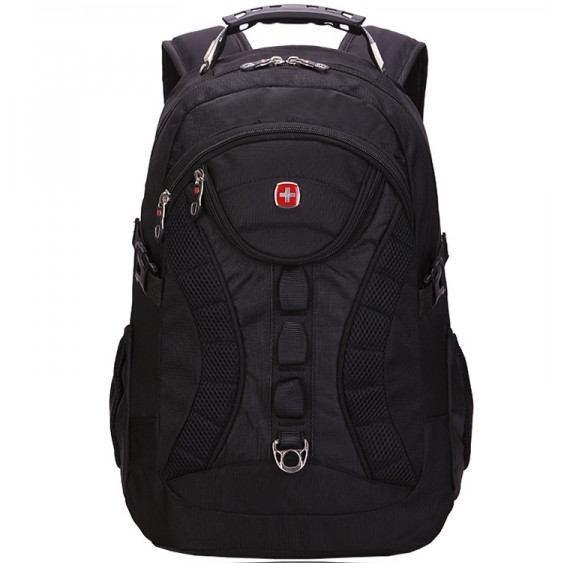 Вместительный рюкзак в стиле SwissGear Wenger, свисгир. Черный. + Дождевик. / s7226 black