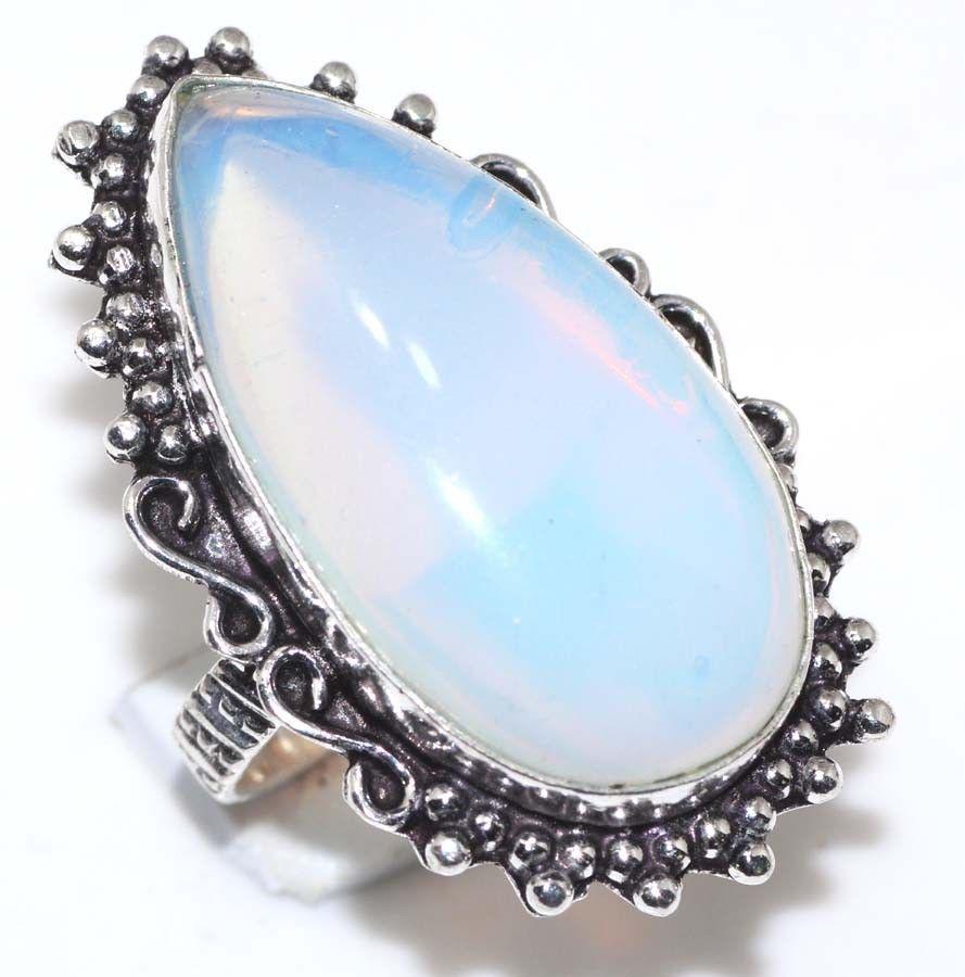 Лунный камень опалит кольцо с опалитом в серебре 19-19,3 размер Индия
