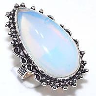 Лунный камень опалит кольцо с опалитом в серебре 19-19,3 размер Индия, фото 1