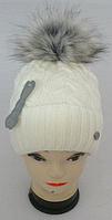 Шапка вязаная с бубоном на флисе для девочки  , фото 1