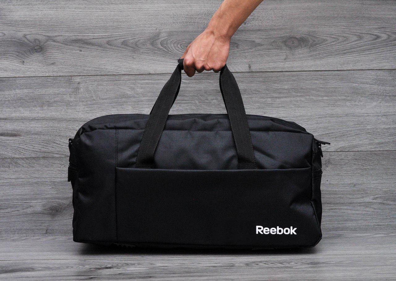 Спортивная, дорожная сумка рибок, в стиле Reebok с плечевым ремнем. Черная