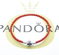 Браслет Pandora Пандора кожаный красный с серебряной клипсой серебро 925 в мешочке Pandora