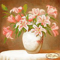 Схема для вышивки бисером Розовые лилии ТА-020