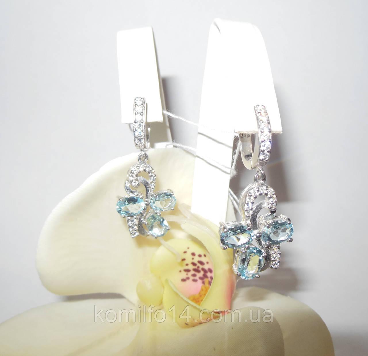 Срібні сережки з натуральним топазом