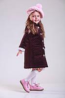 Пальто дитяче велюрове кольору Бургунді 104-128 розміри