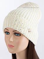 Женская вязаная шапочка Gucci Муха белая с серебряным фольгированием