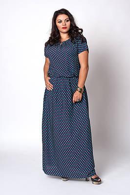 Длинное в пол легкое летнее женское платье из штапеля, 52-54,54-56,56-58