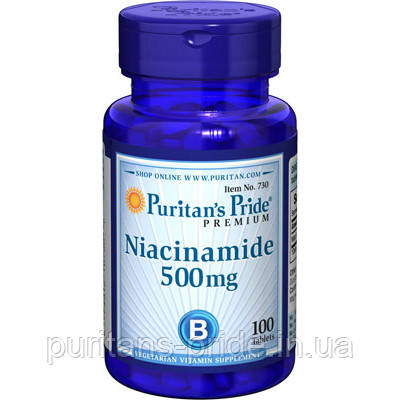 Ниацин, Витамин В-3, Puritan's Pride Niacin 500 mg  100 Tablets, фото 2