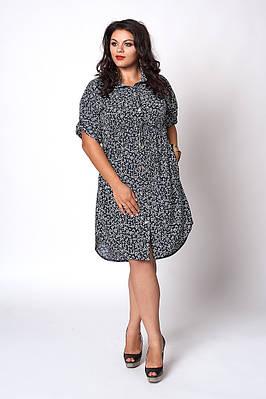 Легкое летнее батальное платье больших размеров, 54,56,58,60