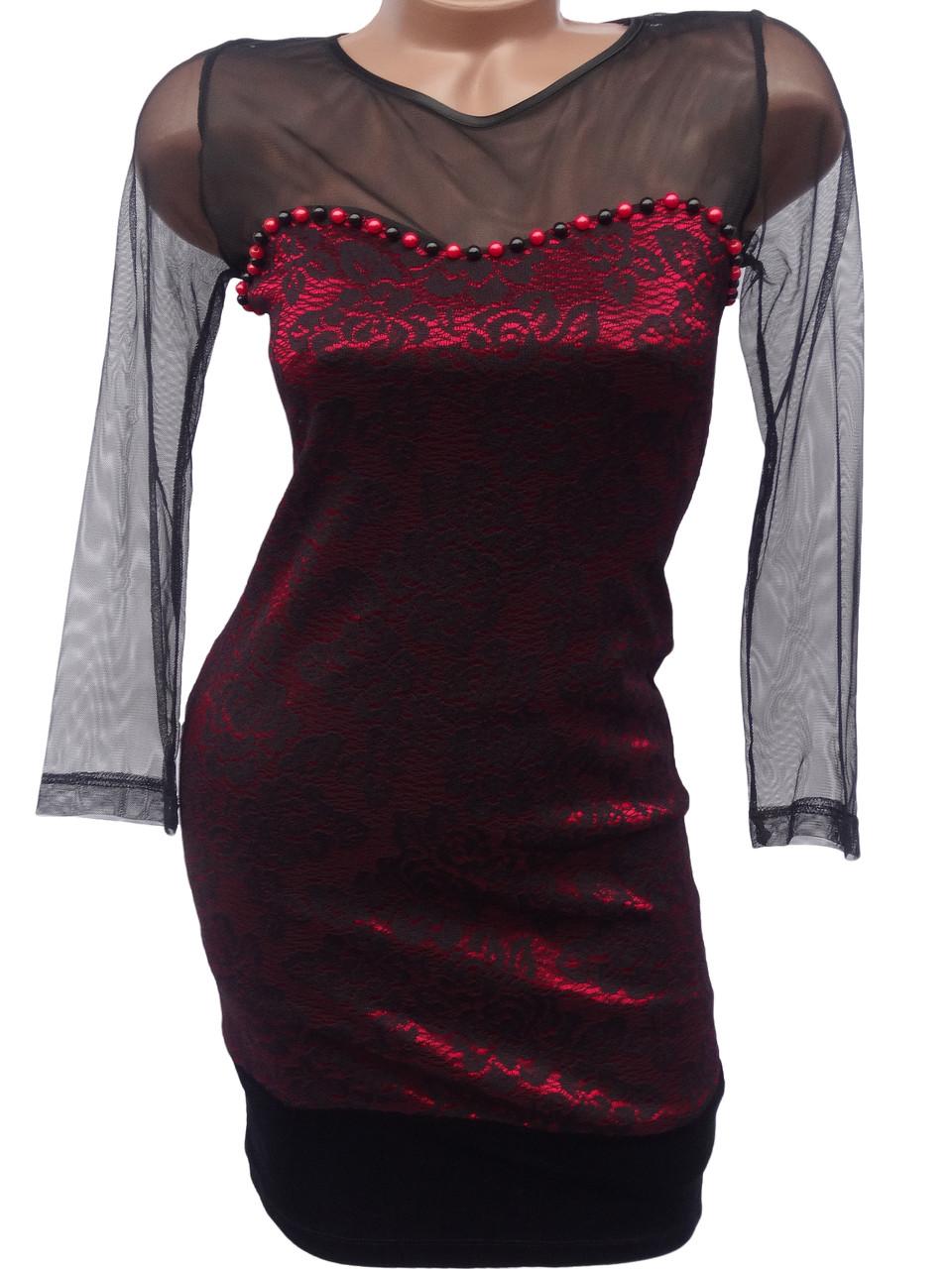 Платье с рукавами-сеточкой (42)