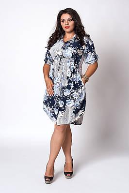 Легкое летнее батальное платье больших размеров, 54