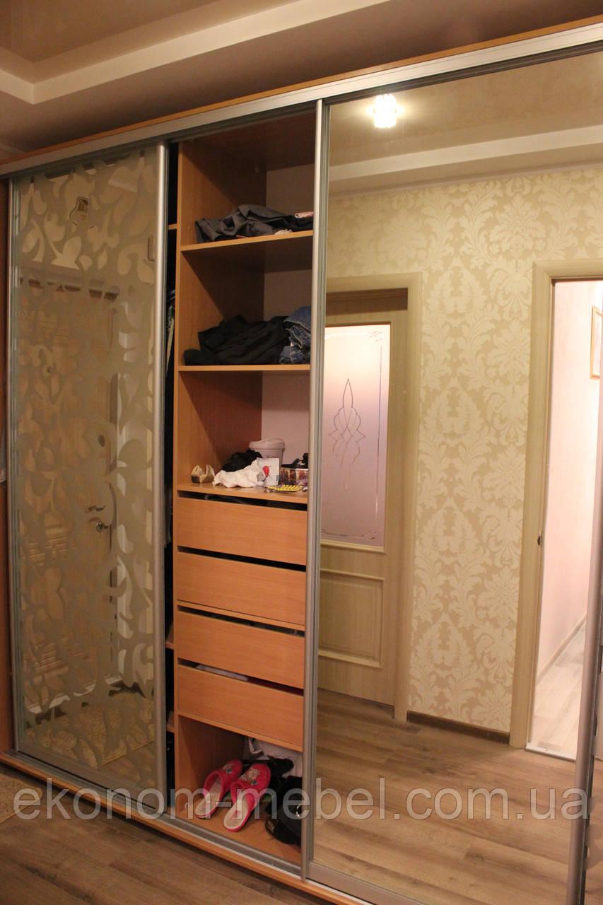 Шкаф купе 3х-дверный ширина 2200мм, глубина 450мм, высота 2400мм, для гостинной. Одесса