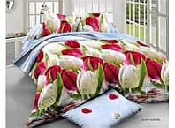 """Двухспальное красивое постельное белье из сатина""""тюльпаны"""""""