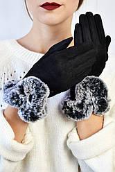 Женские перчатки замшевые сенсорные Тарт серый мех размер S