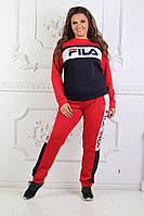 Женский спортивный костюм черно-красный Fila копия, фото 1