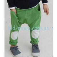 """Штаны спортивные """"афгани"""" с наколенниками зеленые для мальчика"""