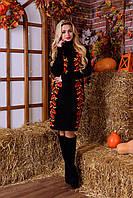 Теплое вязаное платье-вышиванка с маками