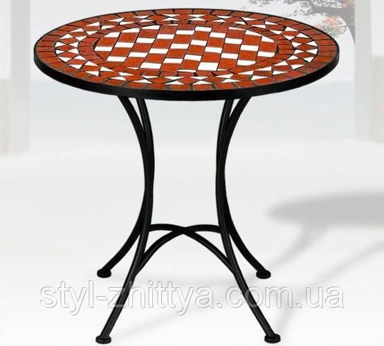 Круглий столик садовий з мозайкою 60см