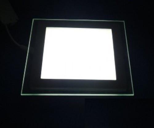 Светодиодный светильник Downlight 12Вт теплый белый квадрат (3200К) Glass Rim