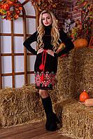 Теплое вязаное платье-вышиванка в украинском стиле