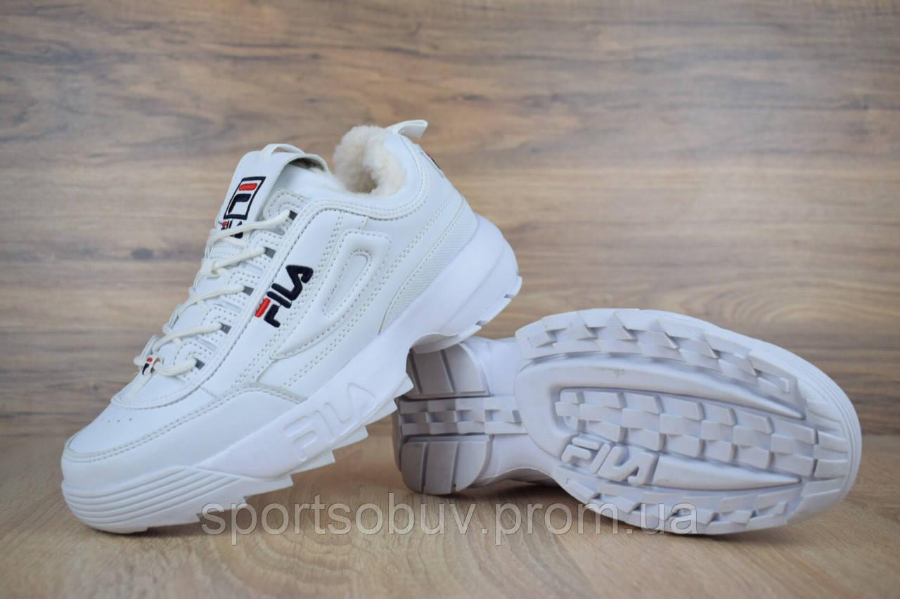 ae1ab7812196 ... Женские зимние кроссовки на меху Fila Disruptor 2 белые Фила, ...
