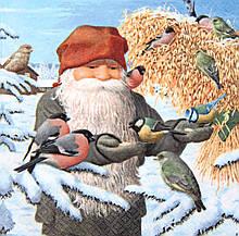 Редкая салфетка для декупажа Гном кормит синичек и снегирей 4051