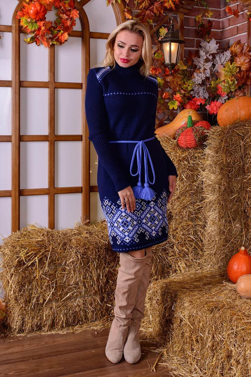Теплое вязаное платье-вышиванка с поясом