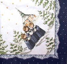 Коллекционная Декупажная салфетка Рождественское пение 5474